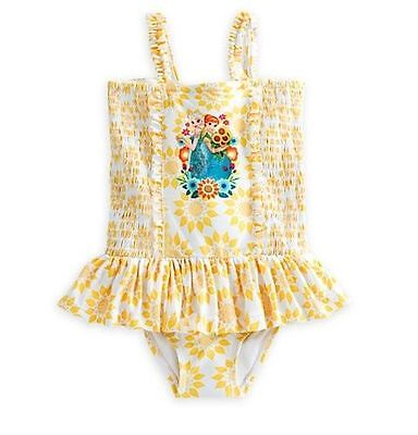 Nwt Disney Store Frozen Elsa And Anna Yellow Swimsuit Girls Size 4 5 6 7 8 9 10
