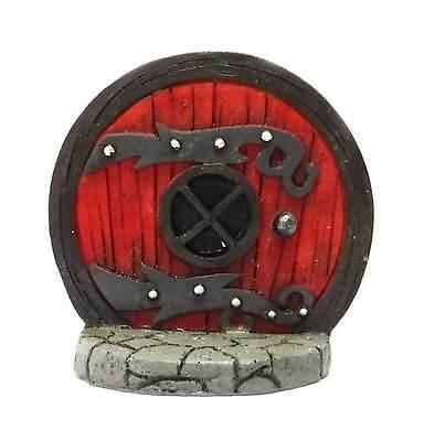 Miniature Round Red Medieval Fairy Door Fairy Garden Hobbit Gnome Yard #17362