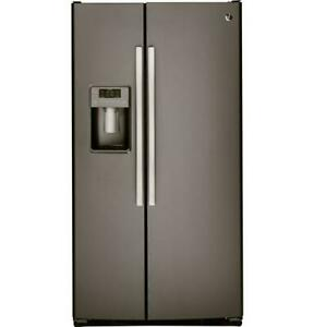 FRIDGE GE 23CU OR 26CU SIDE X SIDE SLATE OPEN BOX NEW