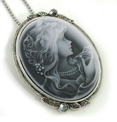 Antique VTG Style Gray Oval Cameo Lady Necklace (Lady Cameo Pendant Necklace)