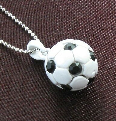 Soccer Ball Jet Black Crystal Rhinestones Sport Necklace Chain Charm Pendant NEW