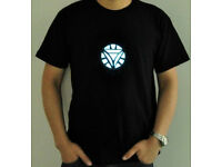 IRON MAN 2 BLACK T SHIRT LED LIGHT UP ARC REACTOR TONY STARK GLOWING POWER SOURC