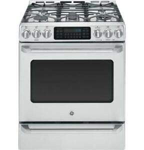 STOVE GE CAFE DUEL FUEL CONVECTION SLIDE-IN STAINLESS STEEL