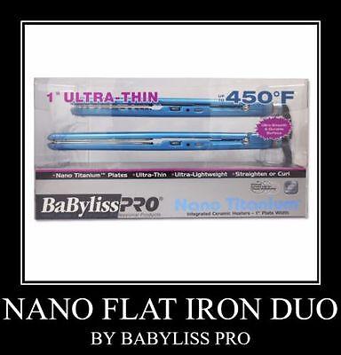 Babyliss Pro Nano Titanium Ultra Thin 1 inch Flat Iron Combo Brand New Blue