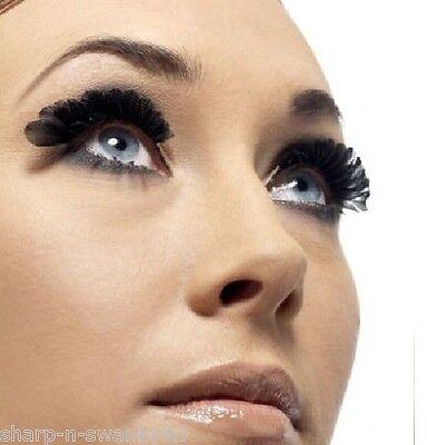 Ladies Black Feather False Eyelashes Burlesque Drag Queen Halloween Fancy Dress ()