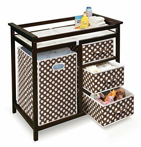 Folding Hamper & 3 Basket Set - Brown Polka Dot