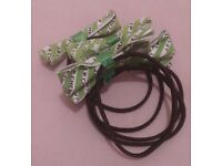 Green Bow Hair Elasticated Bands