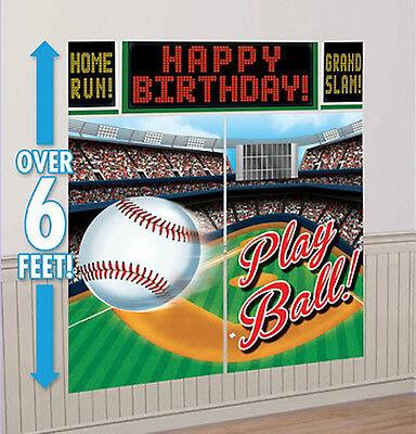 BASEBALL Scene Setter birthday party wall decor kit 6' sports stadium play ball
