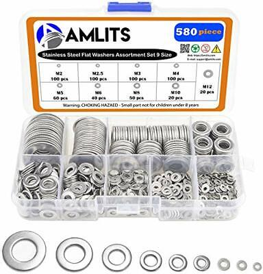 304 Stainless Steel Flat Washers Set 580 Pieces 9 Sizes - M2 M2.5 M3 M...