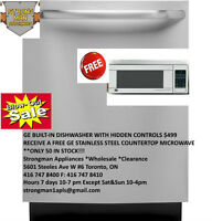 "FREE GE MICROWAVE WITH PURCHASE GE DISHWASHER $499 ""ONLY 50 """