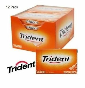 12 Packs x TRIDENT TROPICAL TWIST Chewing Gum Flavour Packet Sugar Free FULL BOX