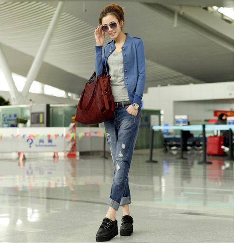 Women's Slim Fit Button Casual Blazer Suit Jacket