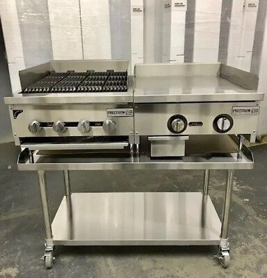 24 Char Broiler 2 Grill Flat Griddle Package New Heavy Duty Char Gill