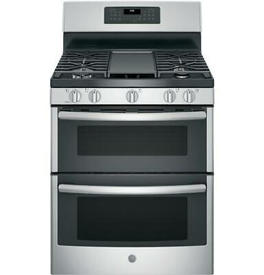 """GE JGB860SEJSS 30"""" Free Standing Gas Double Oven Convection Range"""