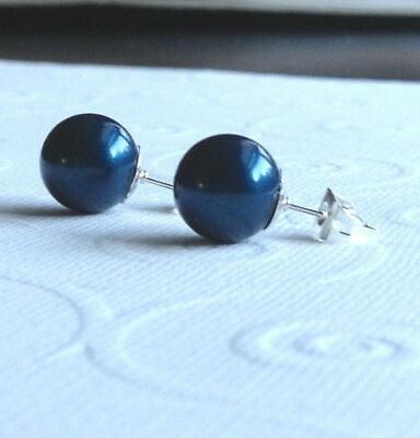 Round Shell Earrings - Pretty New Silver 8mm Navy Blue Round South Sea Shell Pearl Stud Earrings