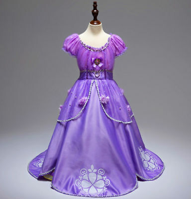 US STOCK ! Gorgeous Sofia The First Costume Girls Princess Dress Gown 3-10  - Princess Sofia The First
