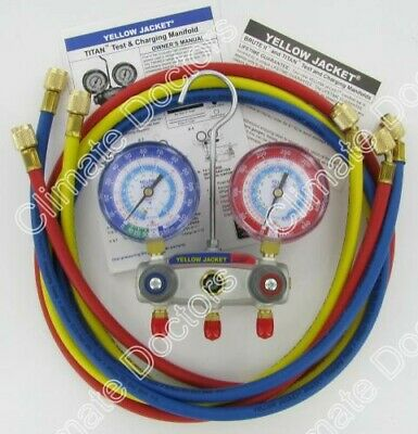 Yellow Jacket 49887 Titan 2-v Manifold Gauges Whoses