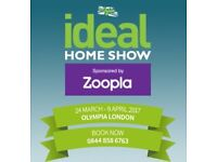 2 x Ideal Home Show London Olympia tickets Valid 24th - 31st March, Inc weekend