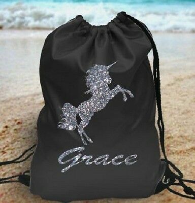 Personalised gym bag your name glitter unicorn pe school bag new customised kids