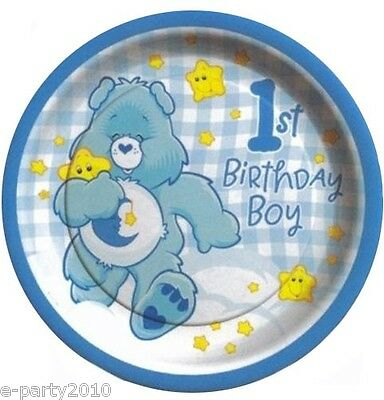 Care Bear Party Supplies (CARE BEARS BOY 1st BIRTHDAY LARGE PAPER PLATES (8) ~ Party Supplies Dinner Lunch)