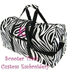 PERSONALIZED duffle bag tote zebra print monogrammed black trim NEW