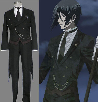 Kuroshitsuji Black Butler Sebastian Michaelis Cosplay costume Kostüm set (Kuroshitsuji Sebastian Cosplay Kostüm)