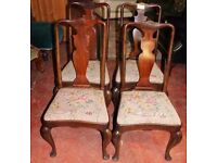 6 Queen Anne chairs (4 chairs + 2 carvers)- MAhogany- Original upholstery
