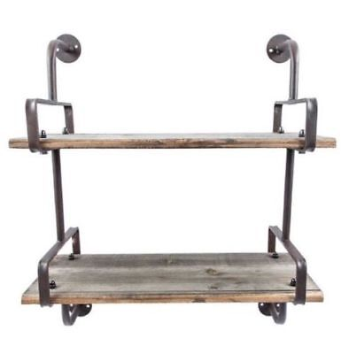 Rustic Country Wall Shelf 2 Wooden Planks Industrial Farmhouse Vintage Shelves