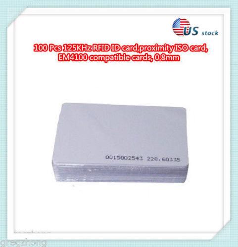 100 Pcs 125KHz RFID ID card, proximity ISO card, EM4100 compatible cards, 0.8mm