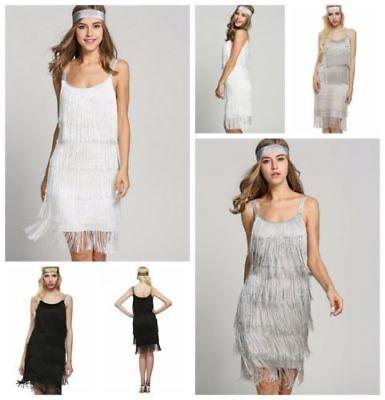 Flapper Swing Damen die Goldenen 20er Gatsby Kleid Charleston Fransen Kostüm DEU ()