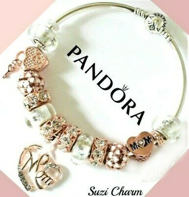 Authentic Pandora Charm Bracelet With Rose Gold MOM Flower European Charms.New](Mom Charm Bracelet)
