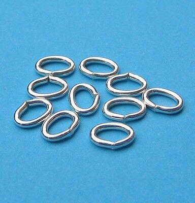 10 Biegeringe oval Ringe 4 x 3,2 mm 925 Silber Schmuckzubehör Schmuck basteln