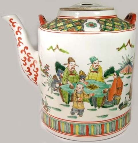 Famille Rose Antique 19thC Porcelain Teapot Depicts Daily Life XL Hand Painted
