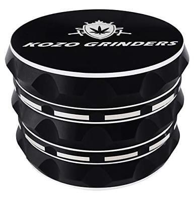 """Kozo Grinders  Best Herb Grinder. Large 4 Piece, 2.5"""" Black"""