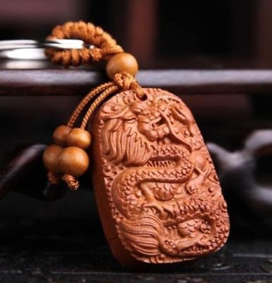 God Alike Dragon Carving Wooden Pendant Keychain Keyring Key Ring Chain Gift ^