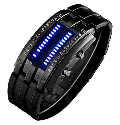 Binary Matrix Blue Led Digital Waterproof Watch Mens Classic Creative Fashion