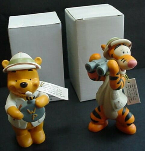 Disney's Animal Kingdom Safari WINNIE The POOH Canteen & TIGGER Porcelain Figure