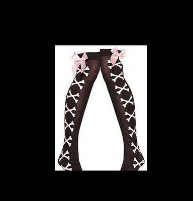 SEXY Cuban Heel Sheer Thigh Highs with Backseam. Bone pattern/Black/Red A0568 Cuban Heel Thigh Highs