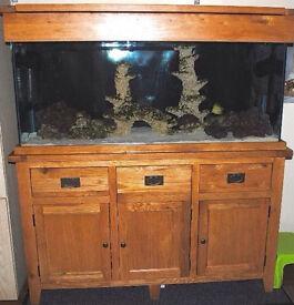 MAIDENHEAD AQUATICS AQUA OAK 5FT 310 LITRE FISH TANK & SOLID OAK CABINET & HOOD DELIVERY 07544000786