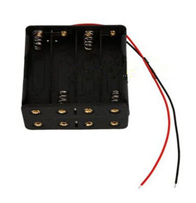 8 Cell Battery Holder - 8X AA Size Cell Battery Clip Holder Storage Box 12V Case With Wire Lead CB