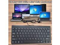Black Mini Slim 78 Key USB Wired Compact Thin Keyboard for Desktop Laptop Mac PC