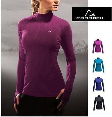 Paradox Womens Performance Merino Blend Release Top Base Layer 1 4 Zip Size M