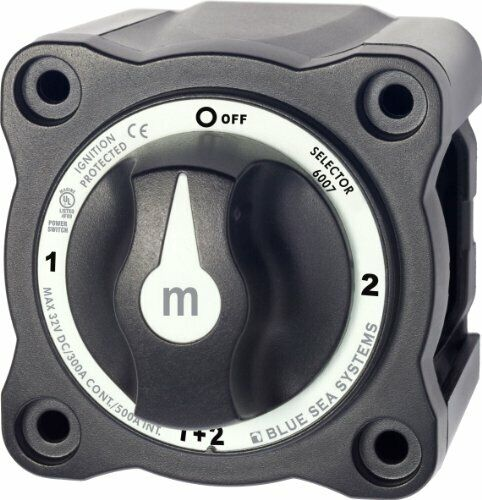 Blue Sea Systems 6007200B Series Mini Selector Battery Switch, Black