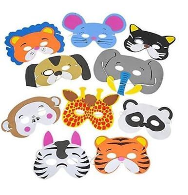12pc Foam Animal Masks Jungle Zoo Safari Birthday Party Favors Goodie Bags