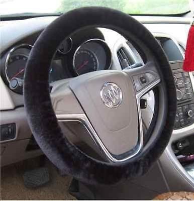 Soft Plush Black Warm Furry Fluffy Thick Faux Fur Car Steering Wheel Cover 38cm