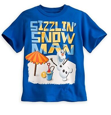 Disney Store FROZEN Olaf Snowman Boys Blue T Shirt Tee Size 4 5/6 7/8 10/12 NWT!