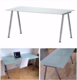 IKEA Galant Height Adjustable Glass Desk / Table