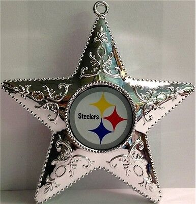 Pittsburgh Steelers Football Team Logo NFL Silver Star Christmas Tree Ornament