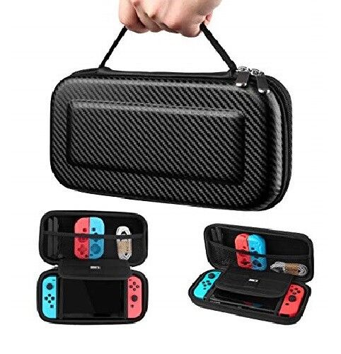 Carbon Fiber Black Nintendo Switch Carrying Case Travel Pouch Non-Slip Handle Bags, Skins & Travel Cases