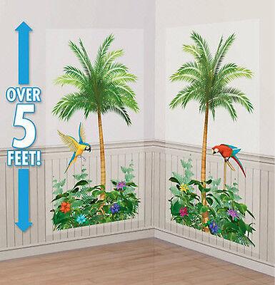 PALM TREES Scene Setter LUAU party wall decor kit 5' tropical paradise parrots](Decorative Palm Trees)